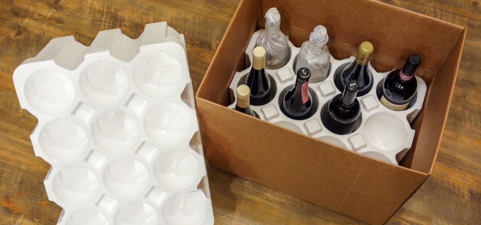 Polystyrene wine shipping boxes